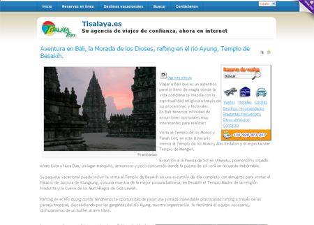 Página Web de la agencia de viajes Tisalaya Tours, Lanzarote